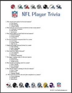 Printable NFL Trivia Games
