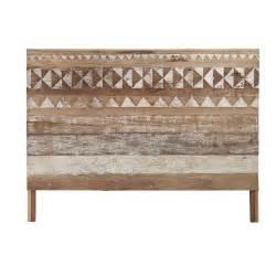 tete de lit  motifs en bois recycle   cm tikka maisons du monde