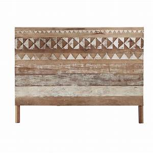 recycled wood patterned headboard w 160cm tikka maisons With paravent maisons du monde