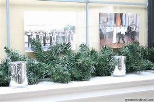 Winter decorating ideas greenery garland window pictures for What kind of paint to use on kitchen cabinets for decorating votive candle holders for wedding