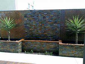 wall fountain outdoor stone clad water wall contemporary With what to consider before installing wall water fountains