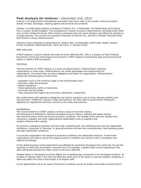pest analysis  unilever