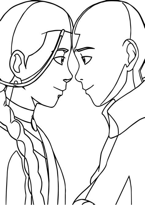 Avatar The Coloring Pages Coloring Home Aang And Katara Avatar Aang Coloring Page