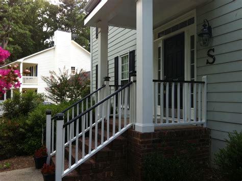 black porch railing black porch rails white house curb appeal