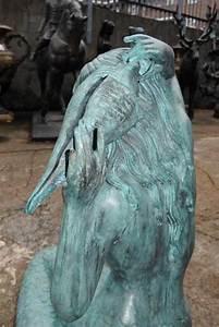Large, Bronze, Mermaid, Sculpture, Fountain, Garden, Art