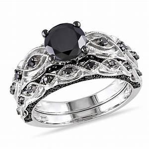 Black diamond wedding ring sets for women amazing for Womens black diamond wedding rings