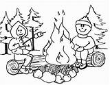 Fire Coloring Pages Camp sketch template