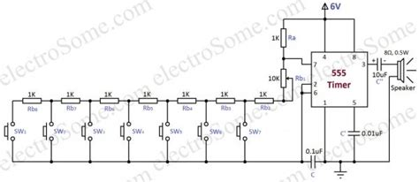 Simple Electronic Piano Using Timer Toy Organ Circuit