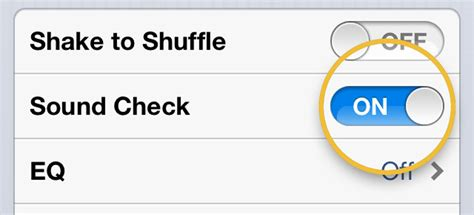 sound check iphone playback settings on iphone