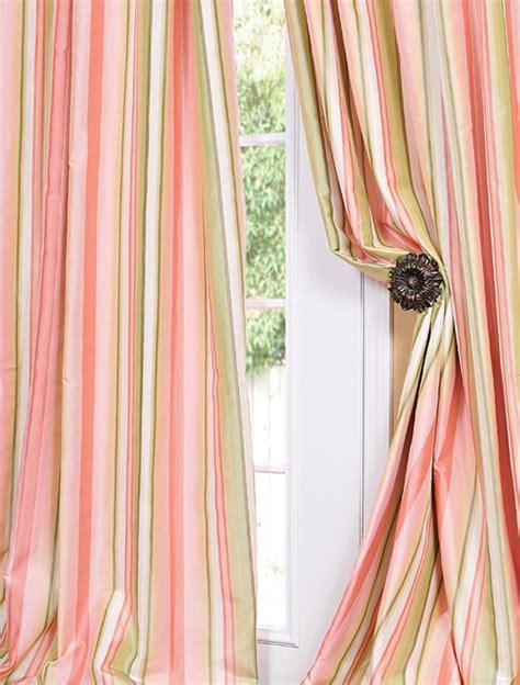 Silk Striped Drapes - serendipity designer silk taffeta stripe curtains drapes