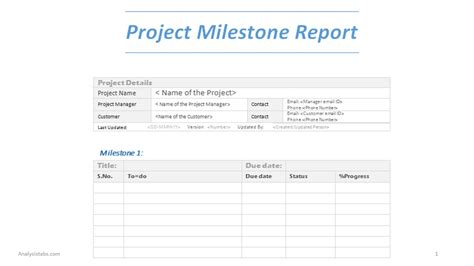project milestones template project milestone report word template