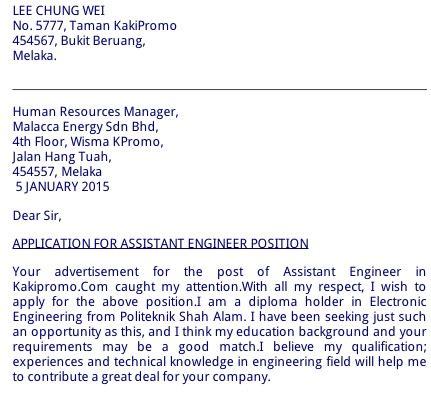 contoh cover letter email hantar resume kerja