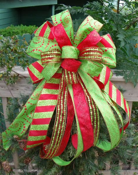 christmas tree bow bow topper wreath bow treetop bow red