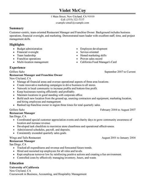 example of restaurant resume franchise owner resume example restaurant bar sample