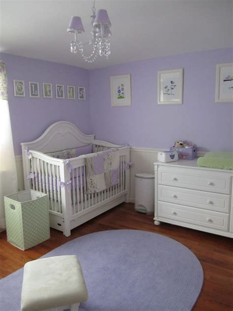 purple and white nursery with green accent color nursery