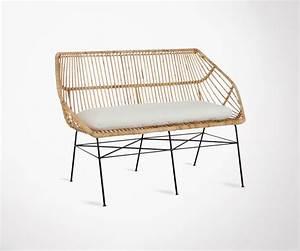 Coussin Pour Banc Exterieur : banc de jardin ou salon en rotin naturel avec coussin ~ Premium-room.com Idées de Décoration