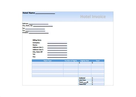 sample hotel receipt templates  google docs