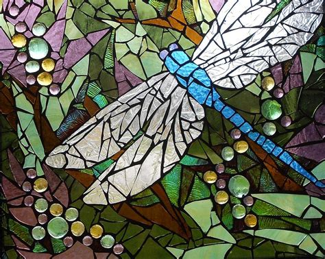 mosaic stained glass blue dragonfly 50 50 glass by