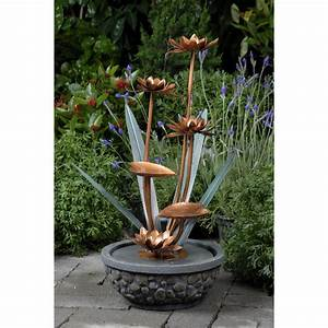 Outdoor water fountain brass garden patio deck flowers and for Outdoor patio fountains