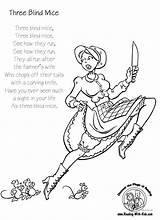 Coloring Nursery Blind Mice Three Rhymes Rhyme Knife Wife Preschool Farmers Colouring Sheets Thing Activities Carving Did Tails Cut Reading sketch template