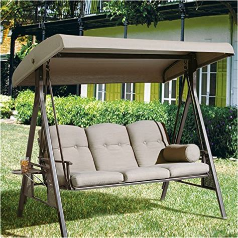 canap swing abba patio taupe colored outdoor 3 seat porch swing with