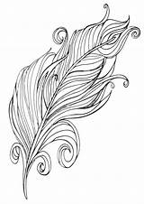 Feather Coloring Feathers Adults Extraordinary Indian sketch template