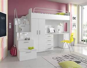 Bett Mit Kleiderschrank : doppelstockbett stockbett bett etagenbett mit schreibtisch ~ Watch28wear.com Haus und Dekorationen