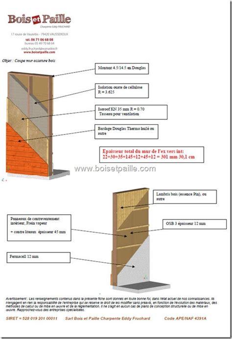 mur ossature bois performance thermique et poids par m 178 le d eddy fruchard