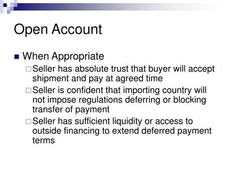 Letter of credit l/c also known as documentary credit is a widely used term to make payment secure in domestic and international trade. PPT - International Trade Payment Methods PowerPoint ...