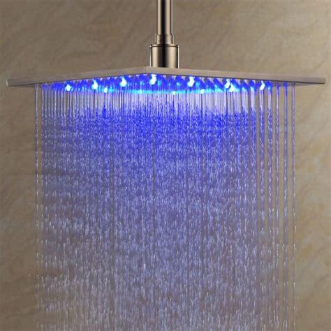 rain shower head with lights shower heads ouku stainless steel rainfall shower head