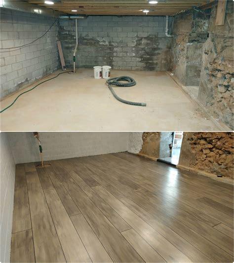 Grey Rustic Concrete Wood Floor In Basement Renovation