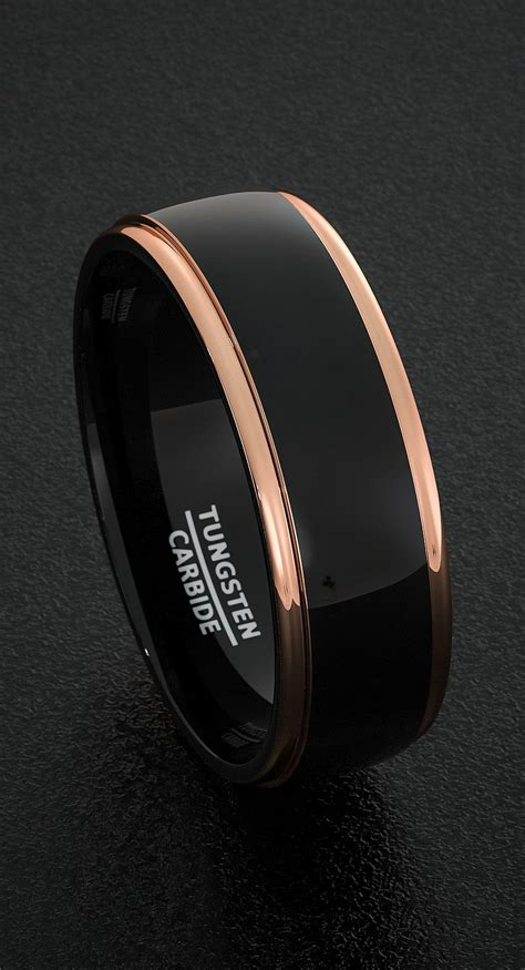 mens tungsten wedding bands mm mens ring  tone black