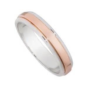 9ct rose gold and white gold 4mm flat wedding ring