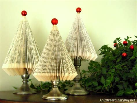how to make folded paperback book christmas trees a tutorial an extraordinary day