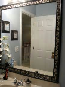 framed bathroom mirror ideas diy frame mirror with tiles home improvements