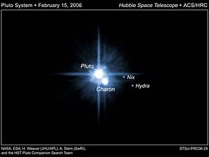 Pluto and Its Moons: Charon, Nix, and Hydra (click to enlarge)
