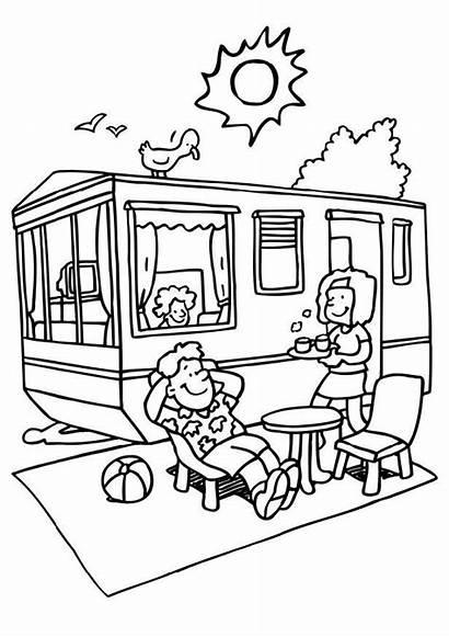 Camping Kleurplaat Vakantie Trailer Coloring Grote Afbeelding