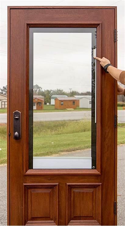 Blinds Doors Glass Between Door Exterior Wood