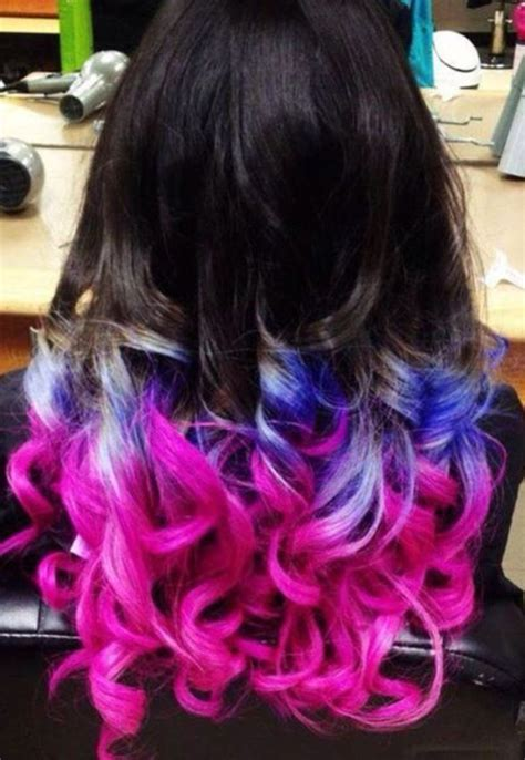 Different Shades Of Hairstyles by Dip Dye Pink Blue Hair Different Hair Colors Hair
