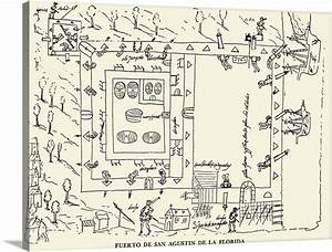 Diagram Of The Fort At St  Augustine  Florida Wall Art