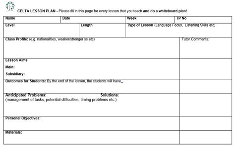 British Council Lesson Plan Template Blank by How To Write Celta Lesson Plans Elt Planning