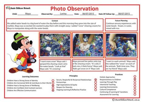photo observation template aussie childcare network