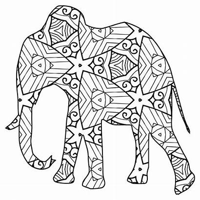 Coloring Animal Pages Geometric Elephant Printable