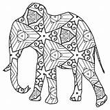 Coloring Animal Pages Geometric Elephant Fun sketch template