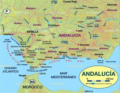 karte von andalusien region  spanien welt atlasde