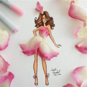 New Flower Fashion Illustration    Pretty In Pink