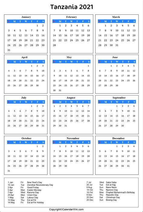 These dates may be modified as official changes are announced, so please check back regularly for updates. Printable Tanzania Calendar 2021 with Holidays [Public ...