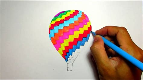 and easy colors drawing ideas of air balloon easy drawings for