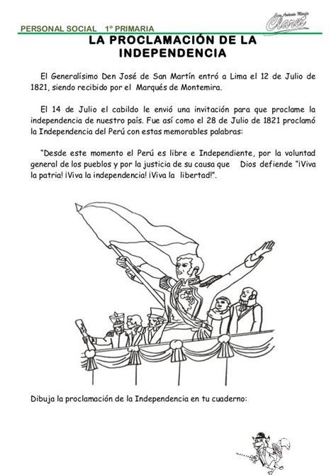 proclamacion de la independencia del peru resumen ni 241 os buscar con fichas de