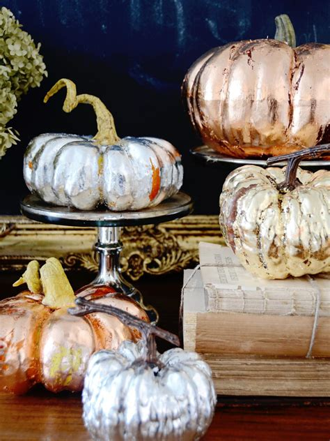 fall ornaments make metallic copper gold and silver pumpkins for a chic fall display hgtv